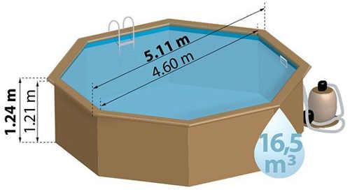 Dřevěný bazén na zahradu průměr 5 metrů