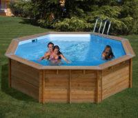Dřevěný nadzemní bazén GRE Nature Wood Violette 5,11 x 1,24m
