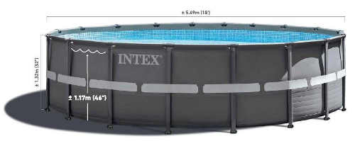 Šedý kovový bazén na zahradu s výškou hladiny 117 centimetrů