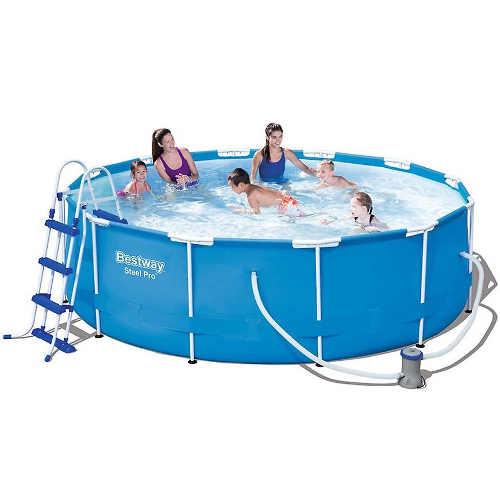 Kruhový bazén s nosnou konstrukcí a filtrací