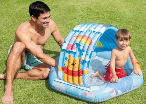 Dětský nafukovací bazének se stříškou Medvídek Pú
