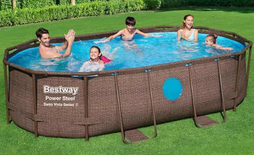 Moderní oválný bazén na zahradu ratanový vzhled
