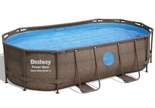 Oválný hnědý ratanový bazén Bestway 4,27x2,5x1m