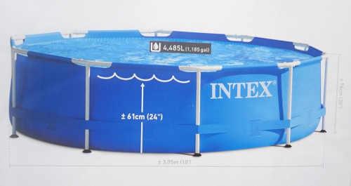 Praktický nadzemní bazén s konstrukcí z kovových trubek