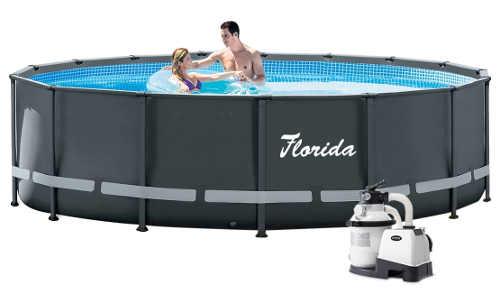 Šedý nadzemní bazén Florida Premium 4,88x1,22 m s pískovou filtrací
