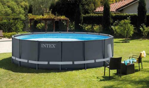 Šedý nadzemní zahradní bazén Intex