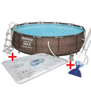 Moderní kruhový bazén ratan s příslušenstvím
