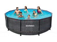 Moderní kruhový bazén v imitaci ratanu