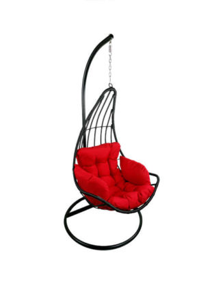 Závěsné houpací křeslo s červeným sedákem