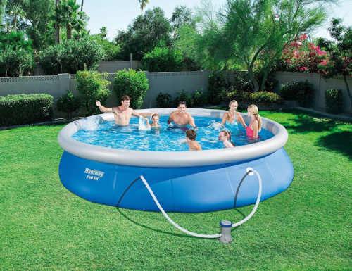 modrý nadzemní typ bazénu s filtrací