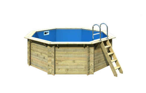 Luxusní bazén s dřevěnou konstrukcí