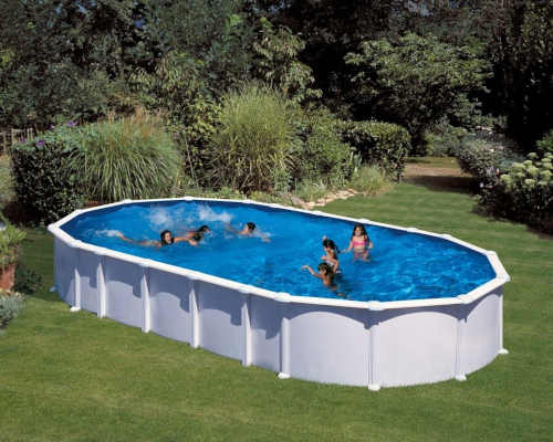 nadzemní moderní oválný bazén