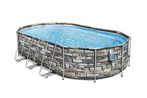 Oválný bazén v zajímavém designu s filtrací