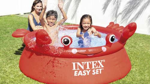 červený nadzemní bazén Intex