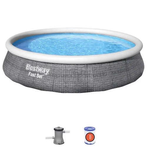 moderní kruhový bazén v ratanovém designu