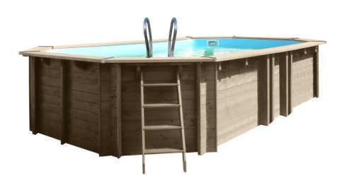 moderní velký dřevěný hranatý bazén