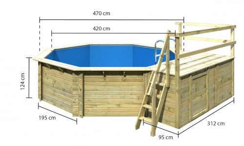 osmiúhelníkový bazén ze dřeva