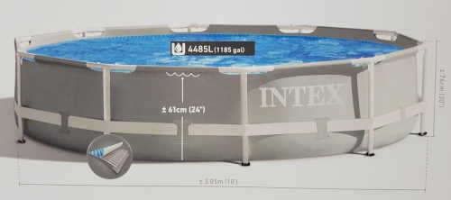 šedý bazén s pevnou stěnou Intex