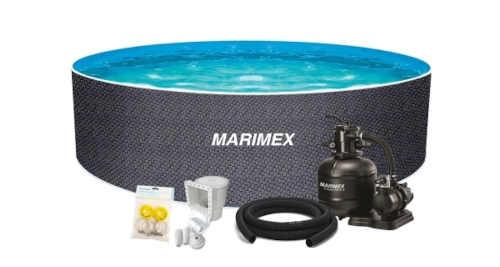 Bazén v ratanovém vzhledu s filtrací