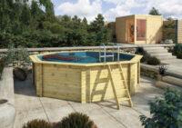 Luxusní dřevěný bazén osmiúhelníkového tvaru 4x4 m